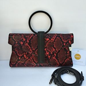 MSM RED PYTHON SNAKE CROSSBODY CLUTCH PURSE BAG